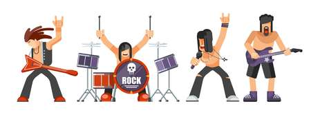 Rock band performing on stage vector illustration.