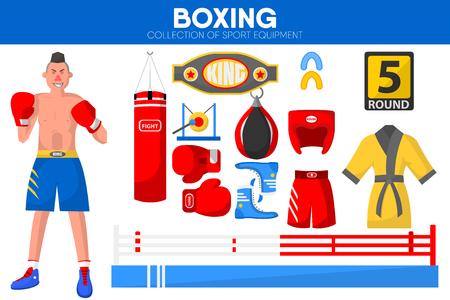Boxing sport equipment flat icons set Illustration