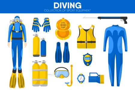 Scuba diving sport equipment vector icons set Illustration