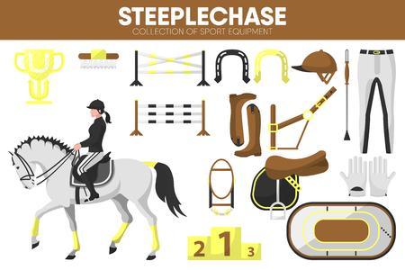 Steeplechase sport equipment horse racing rider garment accessory vector icons set Ilustração Vetorial