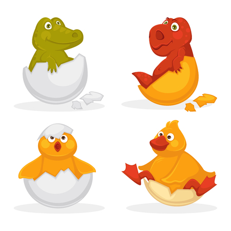 Baby animals hatch eggs or cartoon pets hatching. Vector flat isolated funny toy icons and dinosaur baby, chick or duck bird Kid animal characters set