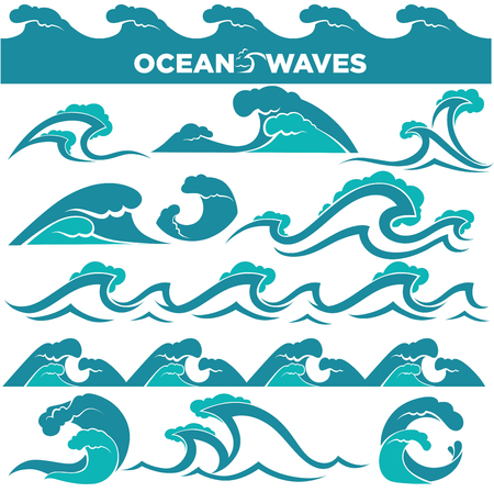 Waves icons of water tidal gale, blue ocean wave and stormy tida