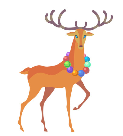 cute: Reindeer Christmas icon. Moving deer