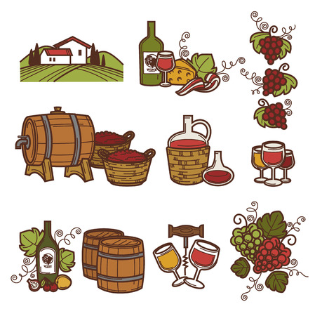 Winemaking or wine production viticulture icons set.