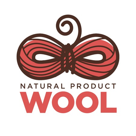 Knitting wool clew bow vector icon for natural product label knit craft