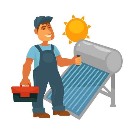 Electrician in overalls with toolkit repairs solar battery Illustration