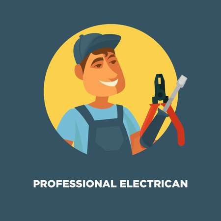Professional electrician service promotional poster with man in uniform 向量圖像