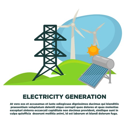steel mill: Electricity generation equipment on promotional poster with sample text
