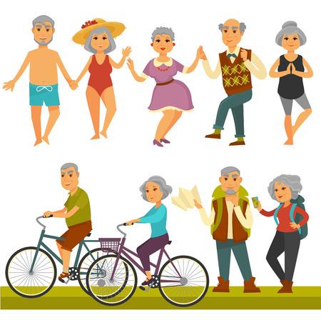 Ltere Leute verfolgen Freizeit und Sporttätigkeitslebensstil. Standard-Bild - 89177450