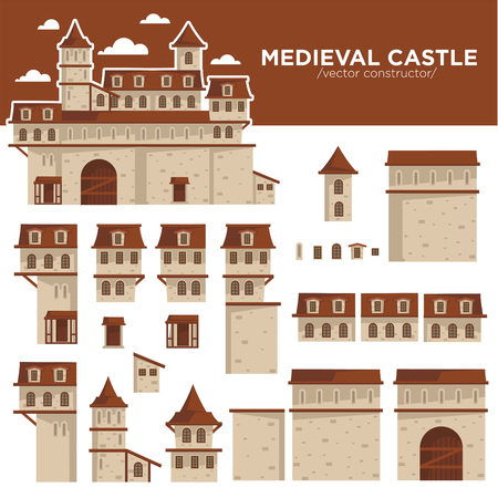 Medieval castle or royal fortress constructor of flat icons.