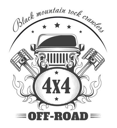 Off-road 4x4 extreme car club logo template. Vector symbol
