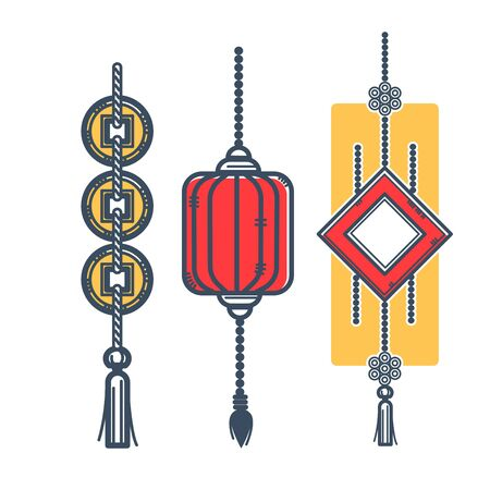 Lantern and mascots for luck and prosperity illustration.