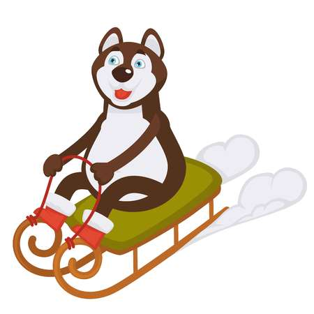 Husky dog in boots rides sledge on snow illustration.