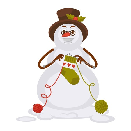Snowman in glasses and tall hat knits socks illustration. Illustration