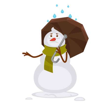 raining: Snowman in warm scarf covers with rain protection illustration.