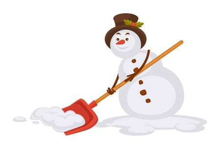 Snowman in tall hat removes snow with spade illustration.
