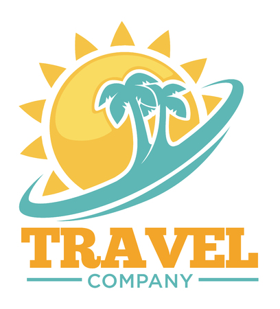 Travel promotional symbol with palms and sun silhouettes.