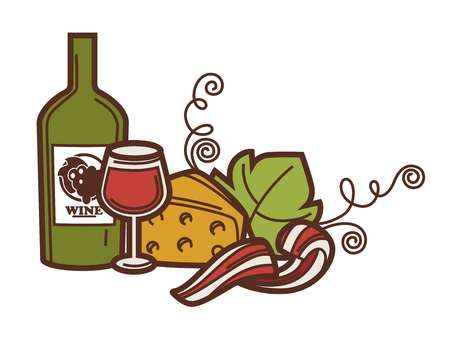 french culture: Wine glass bottle grape and cheese winery icon.