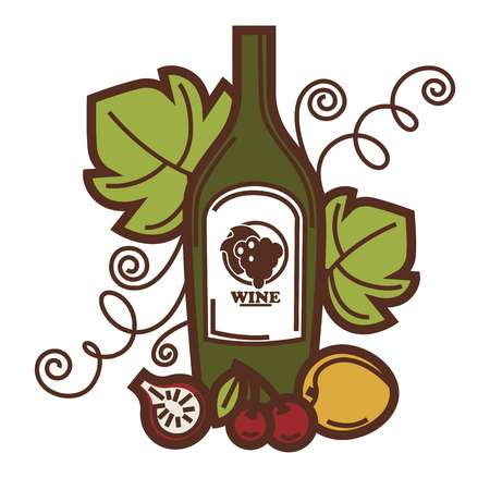 winemaking: Wine glass and grape fruit harvest wine making icon.