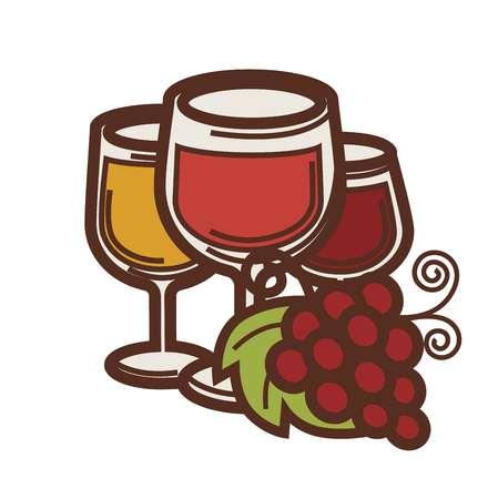 ワイングラスとブドウは収穫ワイン作るアイコンです。