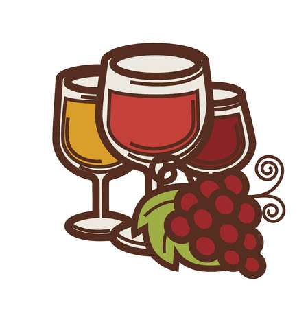 Wine glass and grape harvest wine making icon. Illustration