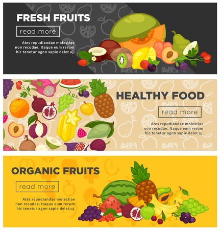 Fresh farm fruits berries healthy organic food vector banners