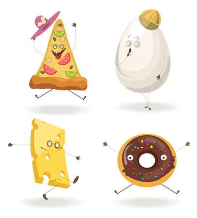 Cartooon fast food characters with cheerful human face expressions.