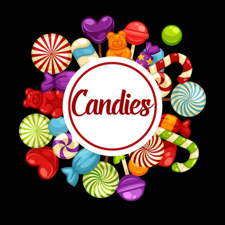 Sweet candies promotional poster with tasty colorful lollipops Illustration