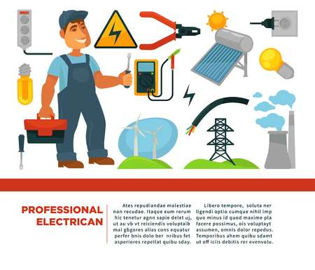 Professional electrician services promotional poster with man in uniform Illustration