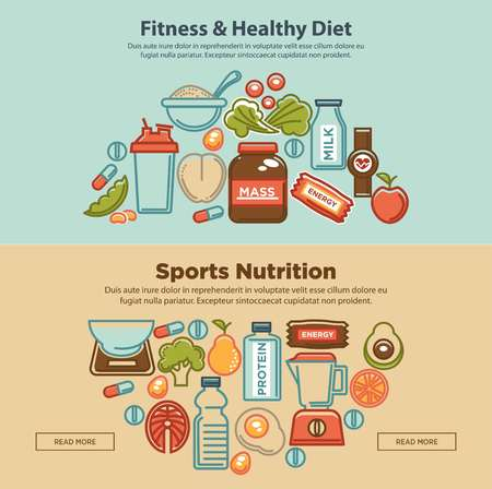 Fitness food and sports healthy diet food nutrition flat banners design. Vector protein drink, natural vegetables and fruit salad, energy bars and mass or weight loss pills and dietary supplements