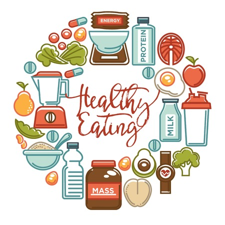 Fitness food and sports healthy diet nutrition products supplements vector icons poster