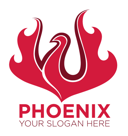 Phoenix bird or fantasy eagle logo template for security or innovation company. Vector isolated icons of mythic firebird spread wings symbol, flame fire phoenix for airline or tattoo design