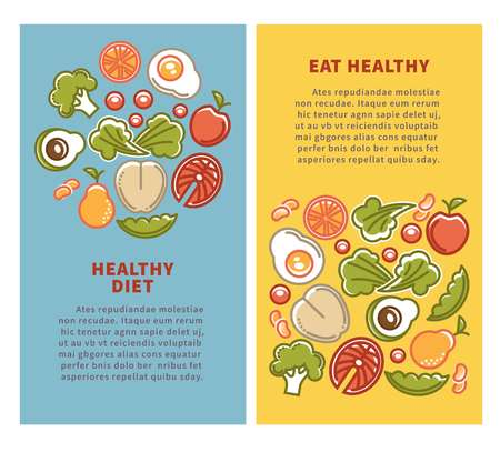 Healthy food and diet nutrition posters for dietary eating. Illustration