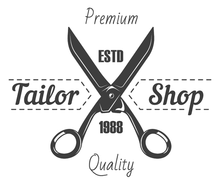 Tailor shop or dressmaker atelier and fashion dress tailoring designer salon vector logo template. Vector retro icon of sewing tailor scissors and thread stitch Illustration