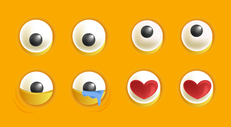 A Smiley constructor with eyes isolated cartoon vector illustrations set on yellow background. Sights with various emotions. Illustration