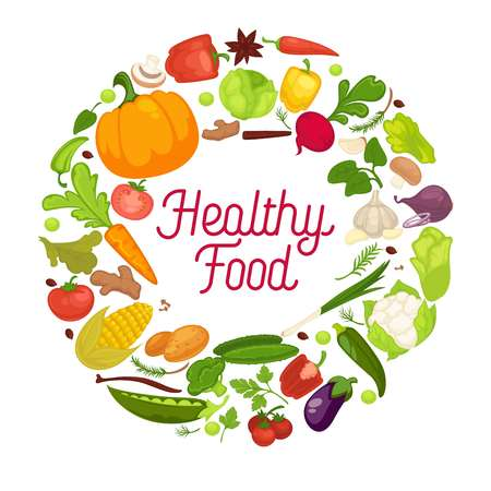 Healthy food vector poster organic vegetables fresh veggies, natural salads spice herbs Stock Illustratie