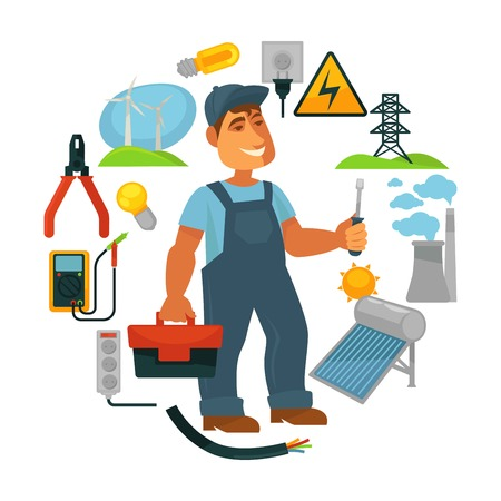 Electrician in overalls surrounded with electricity sources and tools Vectores