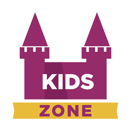 Kids zone logotype with fairy castle with towers Illustration