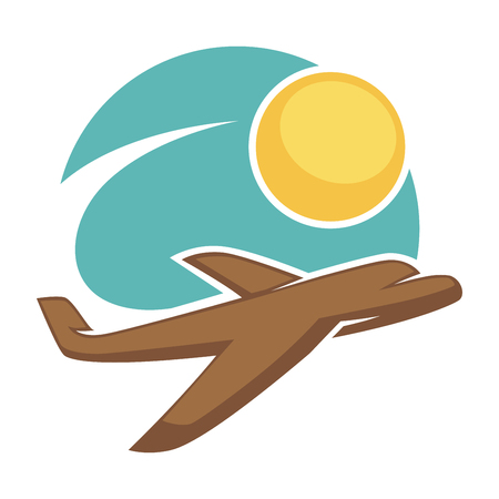 touristic: Travel agency vector icon template tourism airplane sun sky