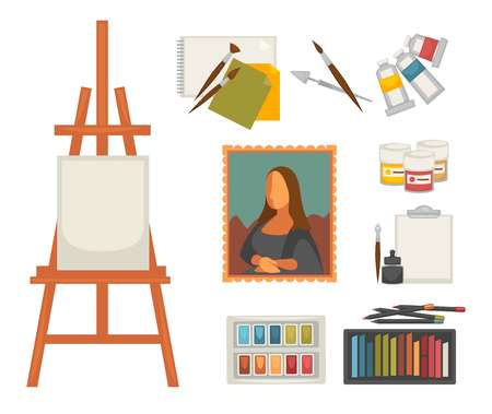 Artist paiting materials and creative art picture drawing tools vector flat icons