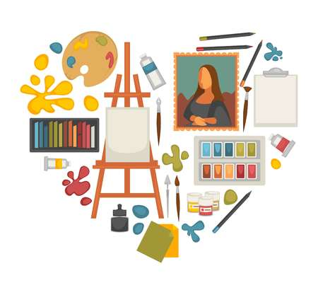 Artist paiting materials and creative art picture drawing tools vector heart poster