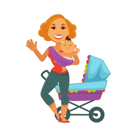swaddle: Motherhood baby care happy mother and newborn child vector flat design Illustration