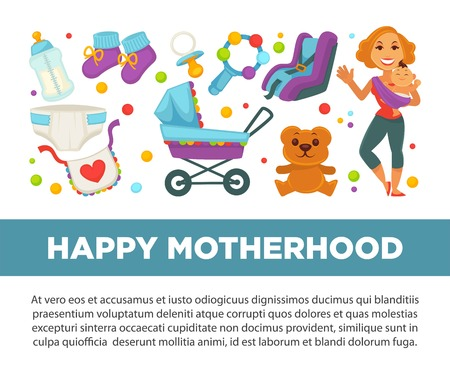 Motherhood happy mother and newborn child clothing accessories vector poster