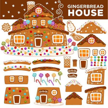 Weihnachtslebkuchenhausbauerkarikatur-Plätzchensüßigkeit, die Kartenikonen des neuen Jahres grüßt Standard-Bild - 89690733