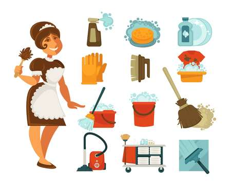 Home cleaning tools and washing ot mopping accessory flat icons set. Vector housewife or housemaid woman, linen laundry, wash mop and vacuum cleaner, bathroom washing soap detergent and duster brush Illustration