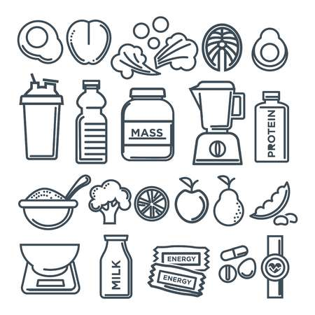 Fitness healthy food of sport diet food nutrition and dietary supplement outline or line icons design. Vector protein drink, vegetables or fruits, low calorie weight pills and cereals or beans