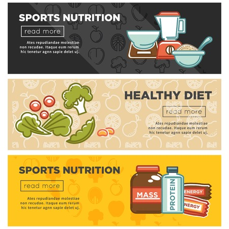 Sport nutrition and fitness healthy food or diet food dietary supplement web banner. Vector cereal porridge carbohydrates, organic fruit and vegetable, gym protein or milk drink and energy calorie bar Иллюстрация