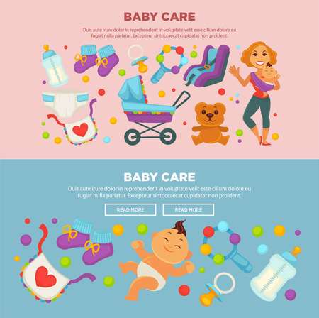Baby care and motherhood poster or web banner template flat design. Vector newborn child boy or girl and happy mother with baby carriage and clothing, diapers and toys