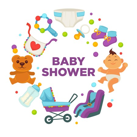 swaddle: Baby shower greeting card for boy or girl child birth or invitation poster. Vector baby, toys or diapers and child carriage or pram icons for happy motherhood design template
