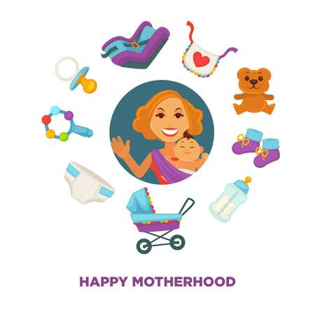 Happy motherhood and maternity poster of mother and newborn child or kid clothing and toys accessory. Vector young woman holding infant baby son or daughter in carriage or safety car seat, diapers and toys Illustration